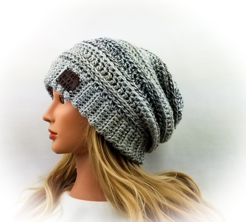 light grey/neutral crochet slouch hat