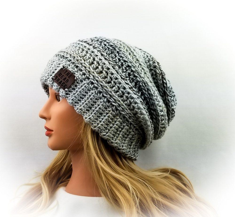 light grey/neutral crochet slouch hat