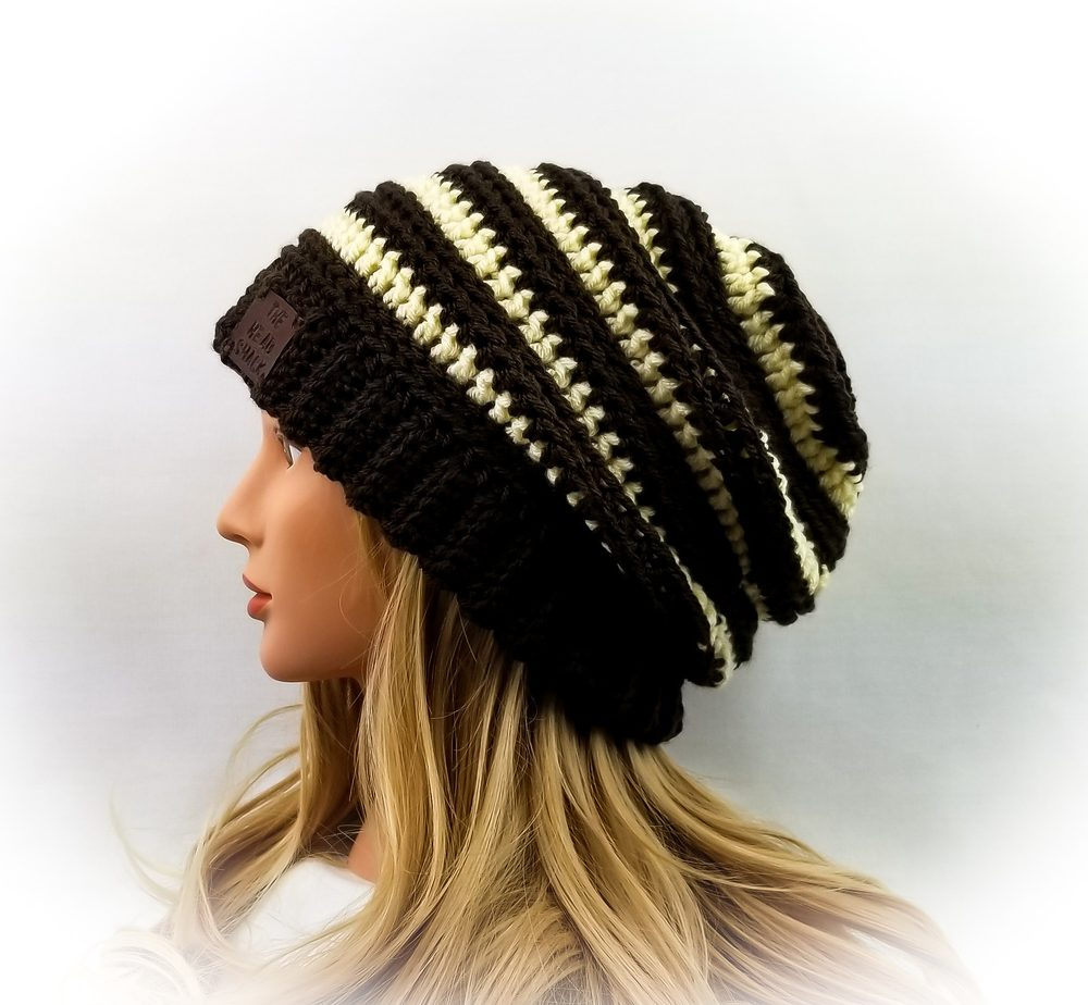espresso and cream crochet slouch hat