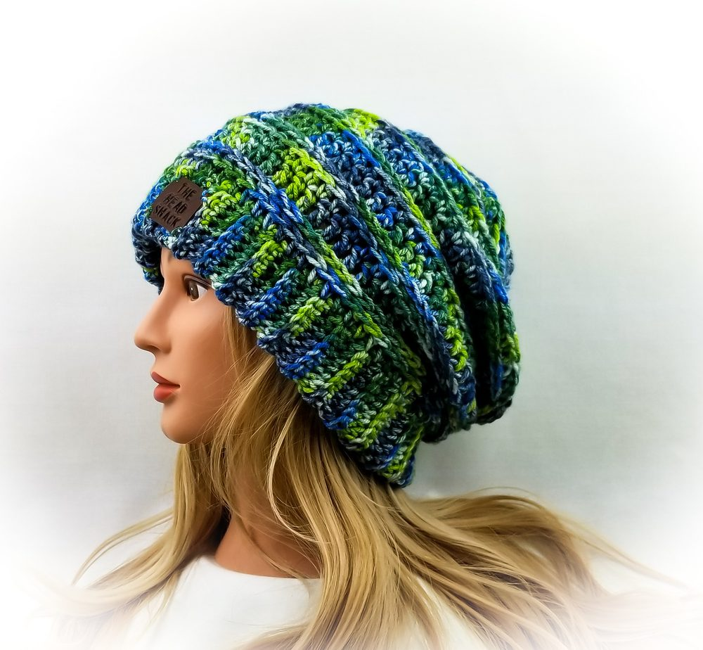 blue and greens crochet slouch hat