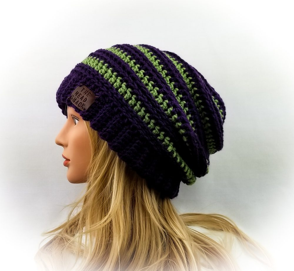 purple and green crochet slouch hat