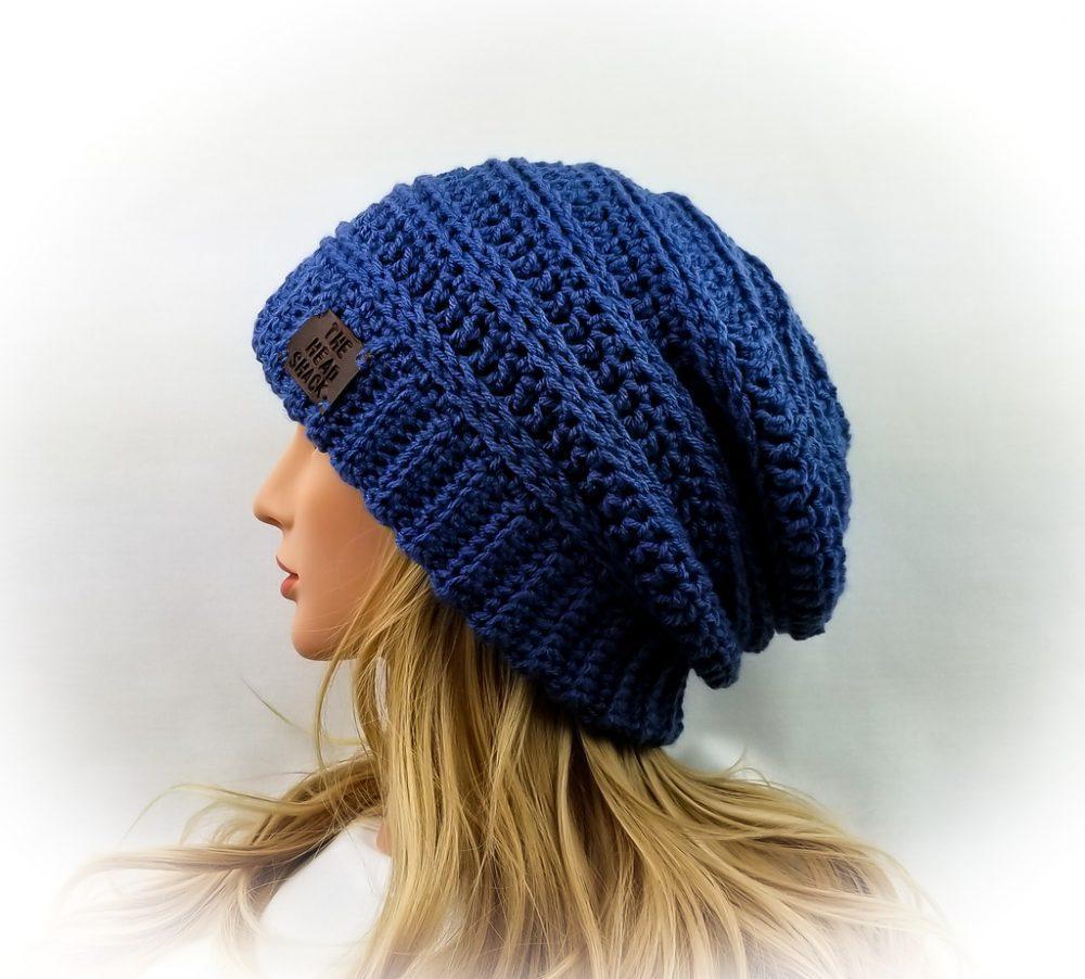 Blue crochet slouch hat