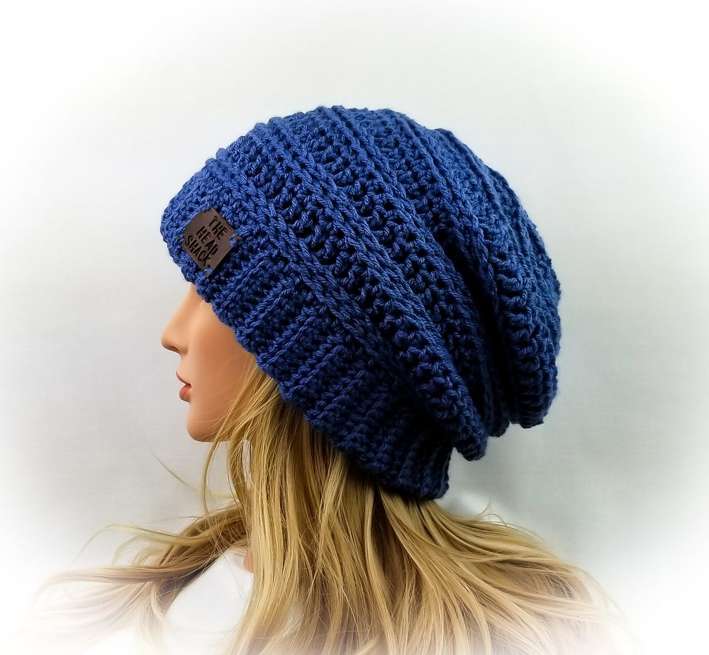 Blue crochet slouch hat