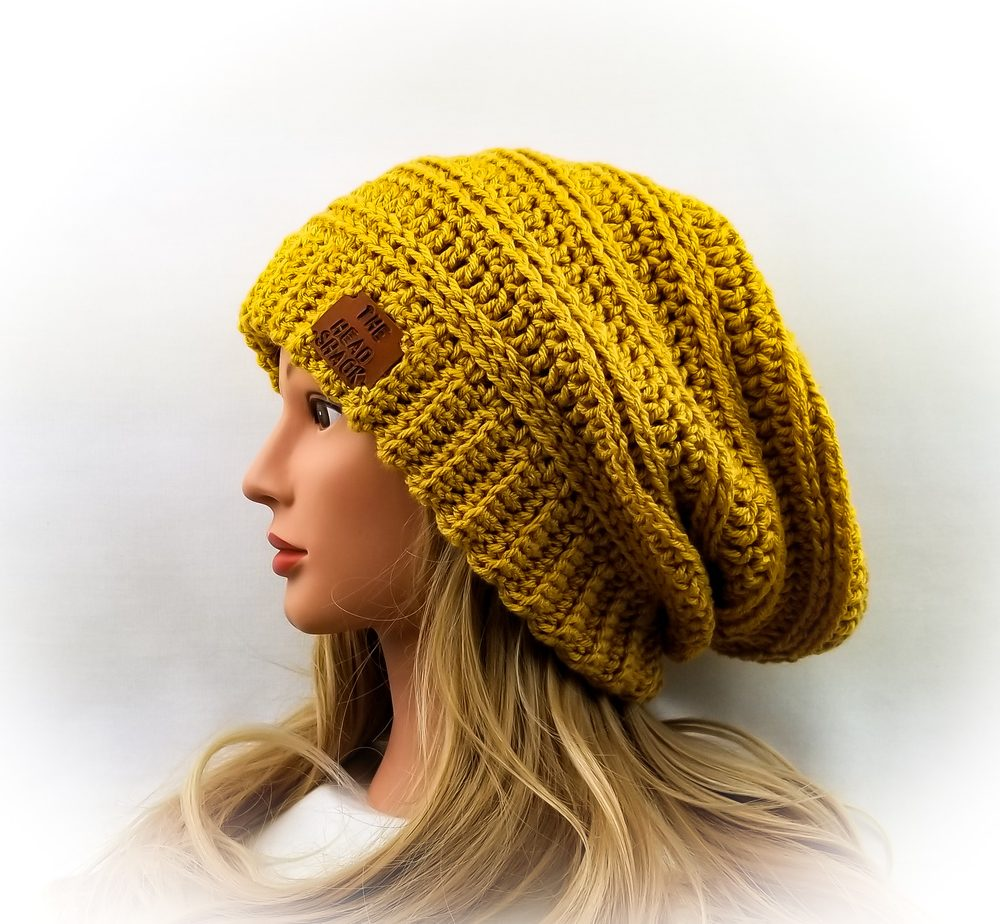 Mustard yellow crochet slouch hat