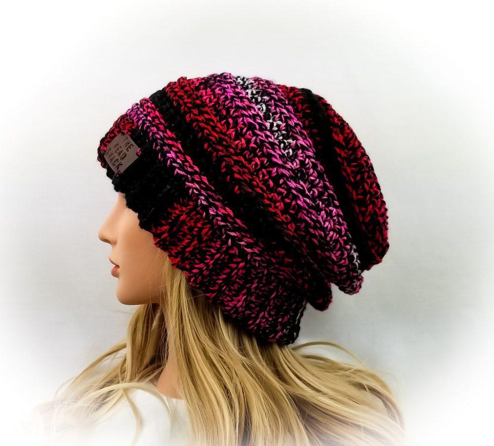 Strawberry sunset crochet slouch hat
