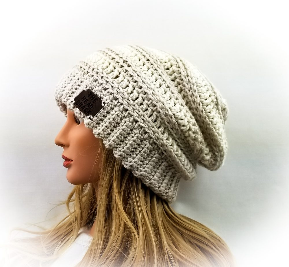 Linen and Ivory crochet slouch hat