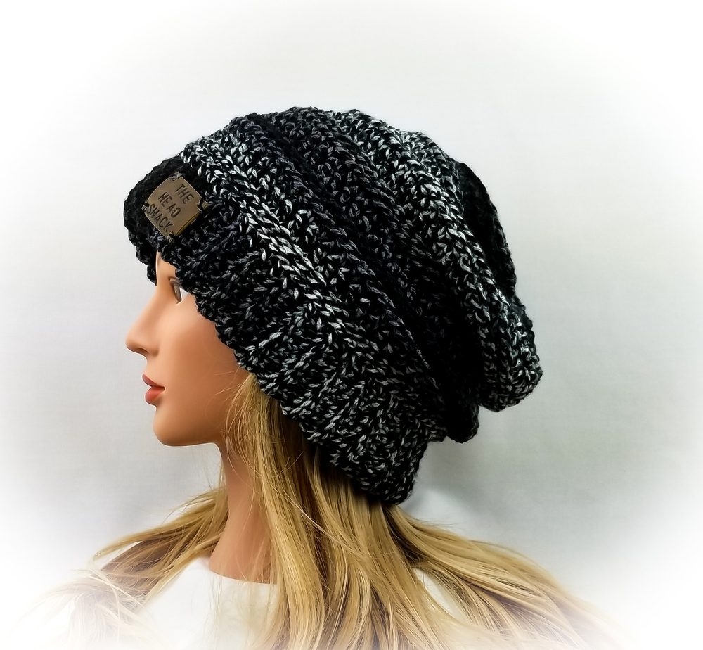 black, grey and white crochet slouch hat