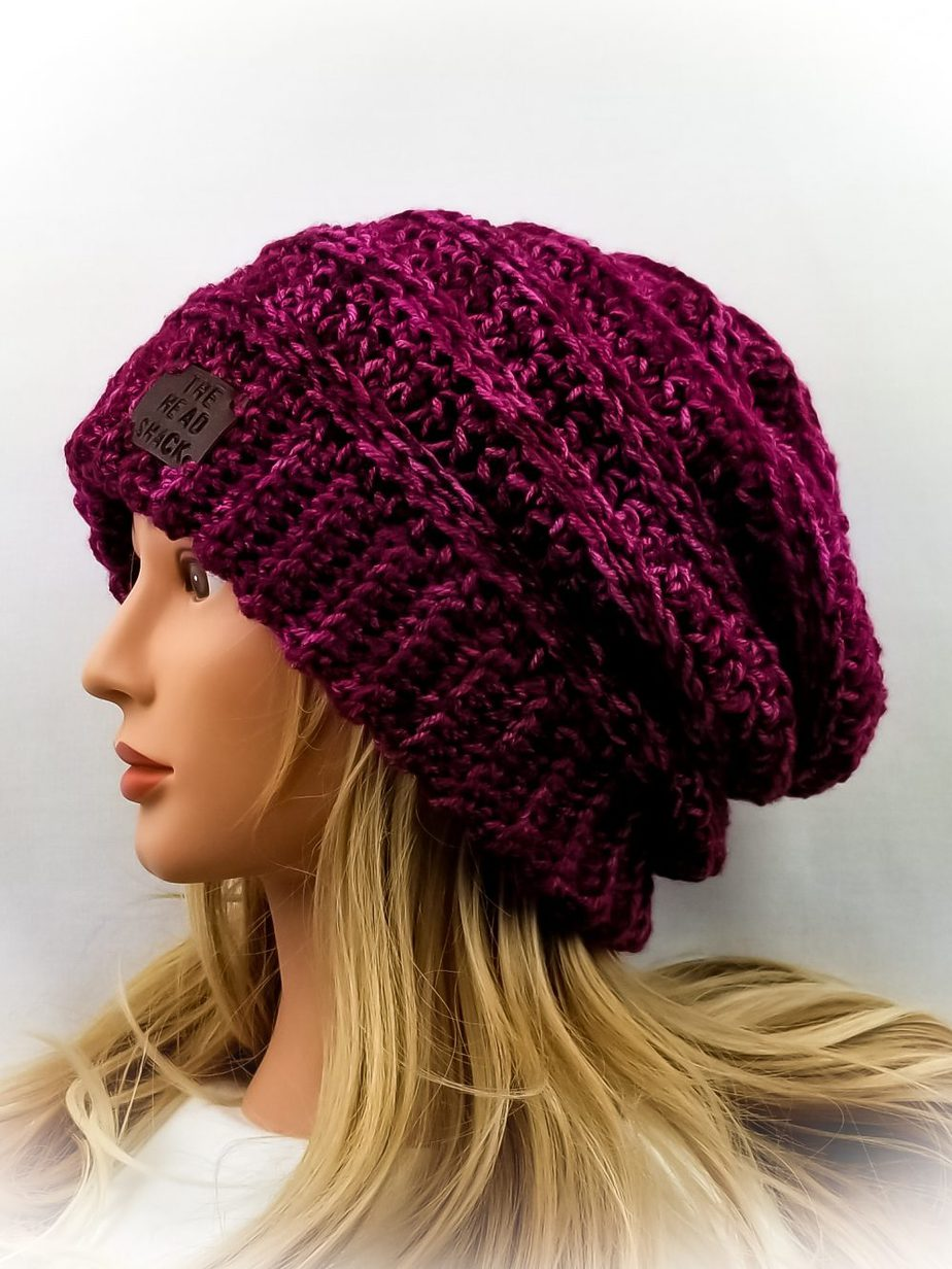 cranberry, purple and pink tonal crochet slouch