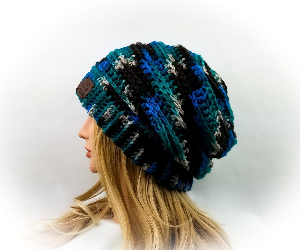 bright aqua & teal camo Slouch Hat