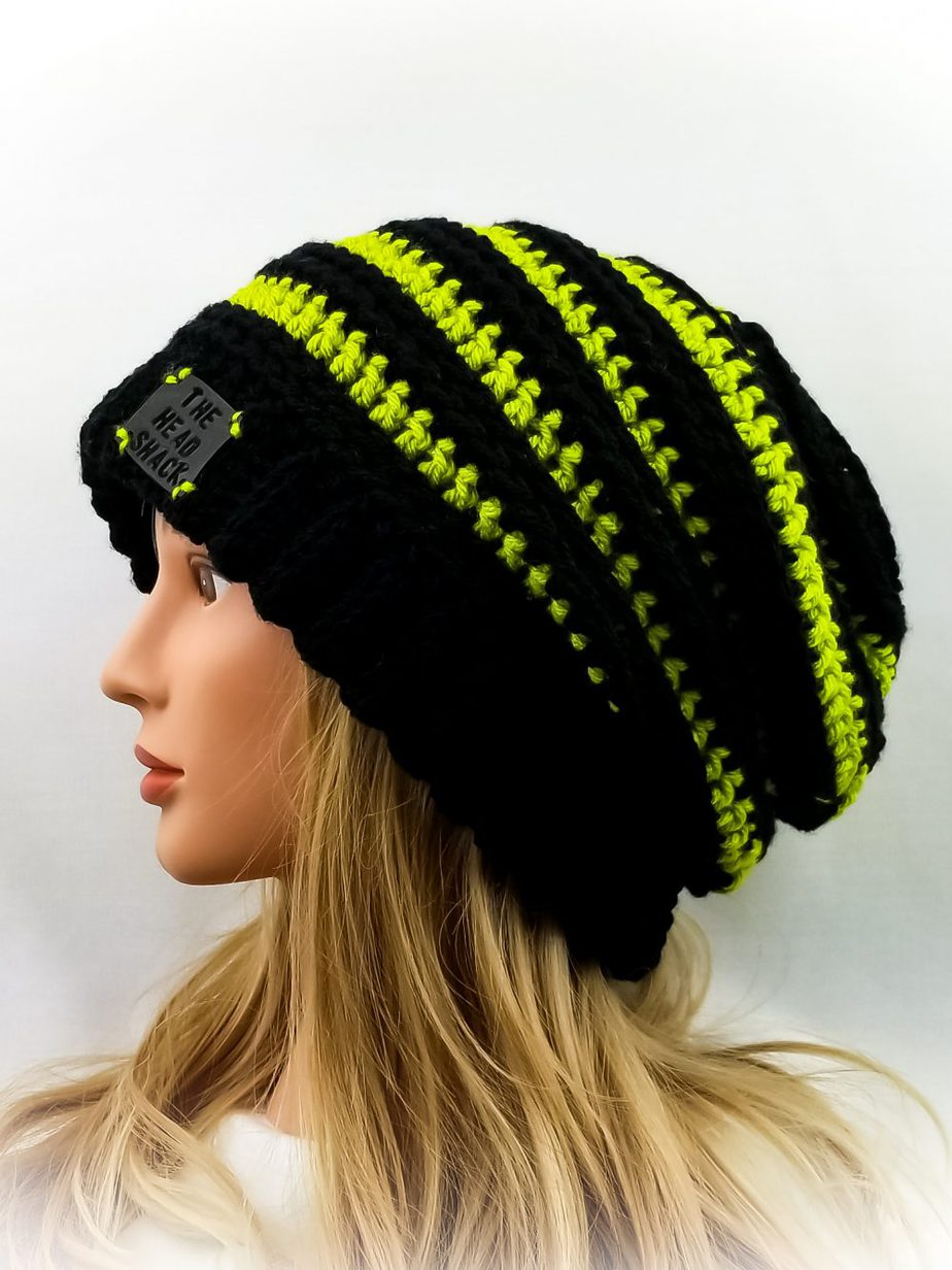 black with lime green stripes slouch hat
