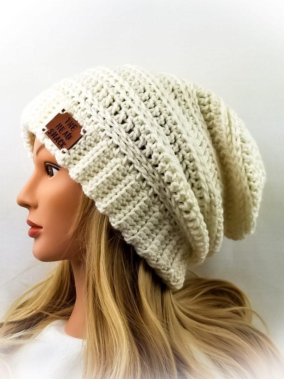 Ivory crochet slouch hat