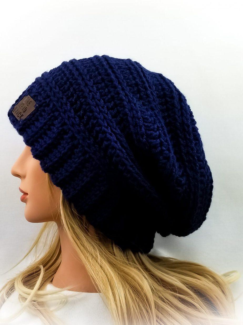 Navy crochet slouch hat