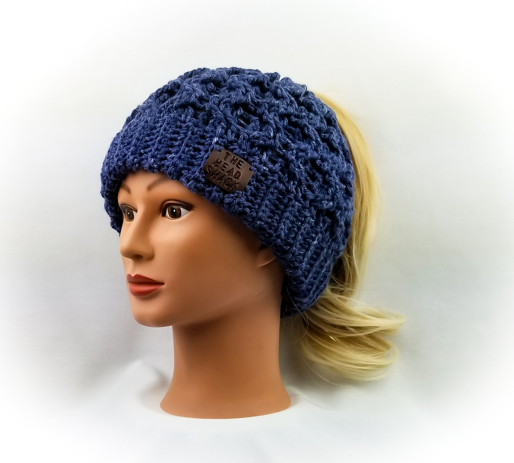 3613dc09 Dark Denim Cabled Messy Bun Hat - The Head Shack